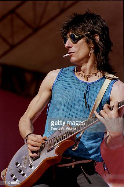 Ron Wood performs with The Rolling Stones in concert at Candlestick Park on October 18 1981 in San Francisco California