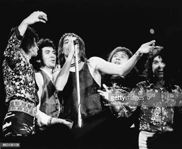 Ron Wood Ronnie Lane Rod Stewart Kenney Jones and Ian McLagan perform at Boston Garden May 1973 Boston Massachusetts