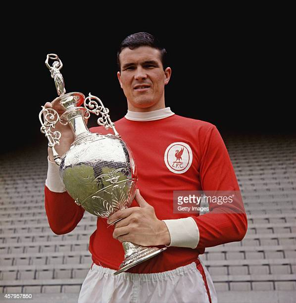 Ron Yeats of Liverpool with the 1965/66 League Division One trophy at Anfield Liverpool circa 1966