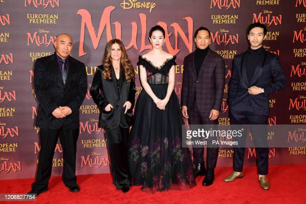 Ron Yuan Niki Caro Lui Yifei Jason Scott Lee and Yoson An attending the European premiere of Disney's Mulan held in Leicester Square London
