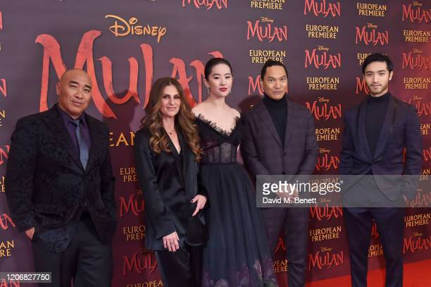 Ron Yuan Niki Caro Yifei Liu Jason Scott Lee and Yoson An attend the European Premiere of Mulan at Odeon Luxe Leicester Square on March 12 2020 in...