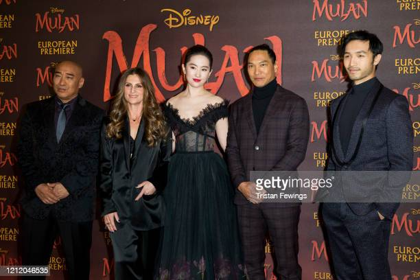 Ron Yuan Niki Caro Yifei Liu Jason Scott Lee and Yoson An attend the Mulan European Premiere at Odeon Luxe Leicester Square on March 12 2020 in...