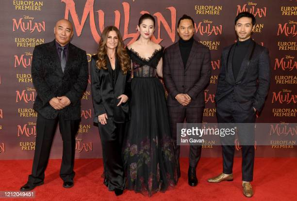 Ron Yuan Niki Caro Yifei Liu Jason Scott Lee and Yoson An attend the European Premiere of Disney's MULAN at Odeon Luxe Leicester Square on March 12...