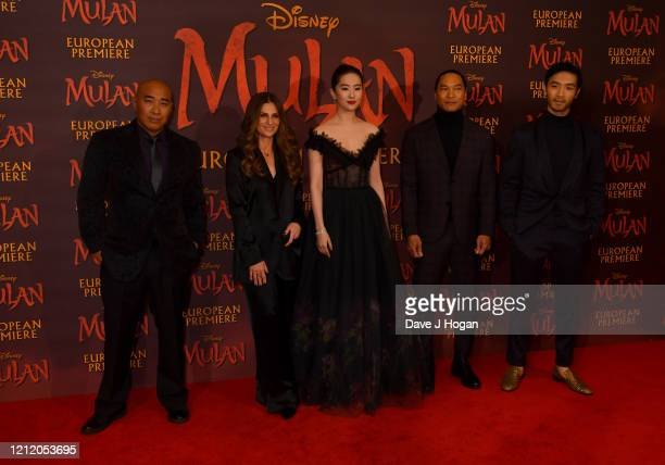 Ron Yuan Niki Caro Yifei Liu Jason Scott Lee and Yoson attend the Mulan photocall at Trafalgar Hotel on March 13 2020 in London England