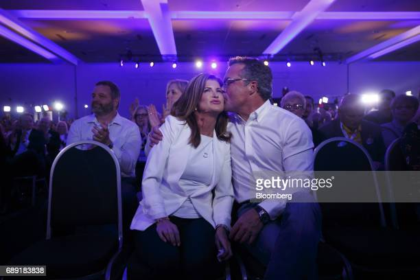 Rona Ambrose interim leader of Canada's Conservative Party left is kissed by her partner JP Veitch during the Conservative Party Of Canada Leadership...
