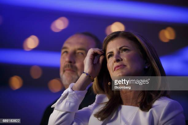 Rona Ambrose interim leader of Canada's Conservative Party right listens during the Conservative Party Of Canada Leadership Conference in Toronto...