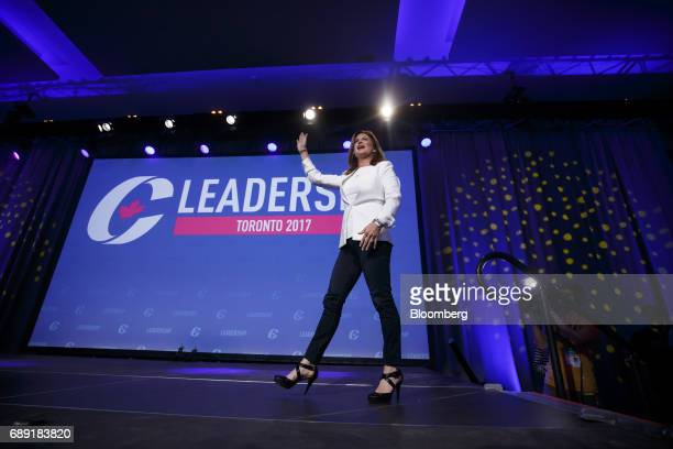 Rona Ambrose interim leader of Canada's Conservative Party waves as she walks on stage during the Conservative Party Of Canada Leadership Conference...