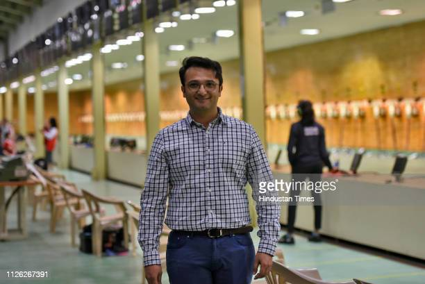 Ronak Pandit highperformance manager during ISSF Rifle and Pistol World Cup at Dr Karni Singh Shooting Range on February 20 2019 in New Delhi India...
