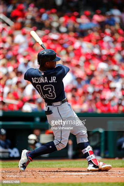 Ronald Acuna Jr #13 of the Atlanta Braves bats against the St Louis Cardinals at Busch Stadium on July 1 2018 in St Louis Missouri