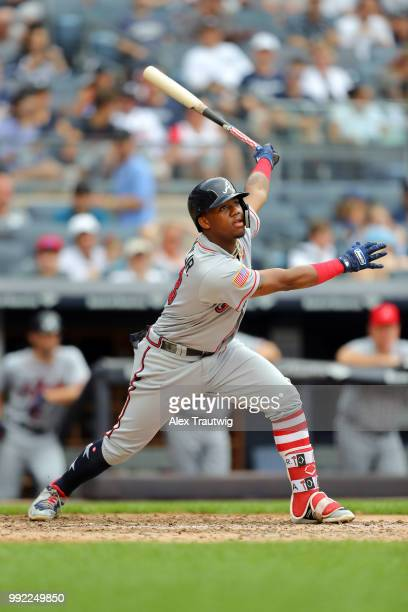 Ronald Acuna Jr #13 of the Atlanta Braves bats during a game against the New York Yankees at Yankee Stadium on Wednesday July 4 2018 in the Bronx...