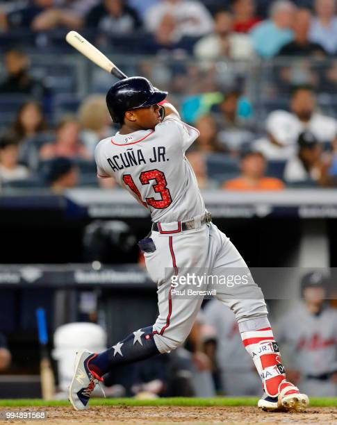 Ronald Acuna Jr #13 of the Atlanta Braves bats in an interleague MLB baseball game against the New York Yankees on July 3 2018 at Yankee Stadium in...