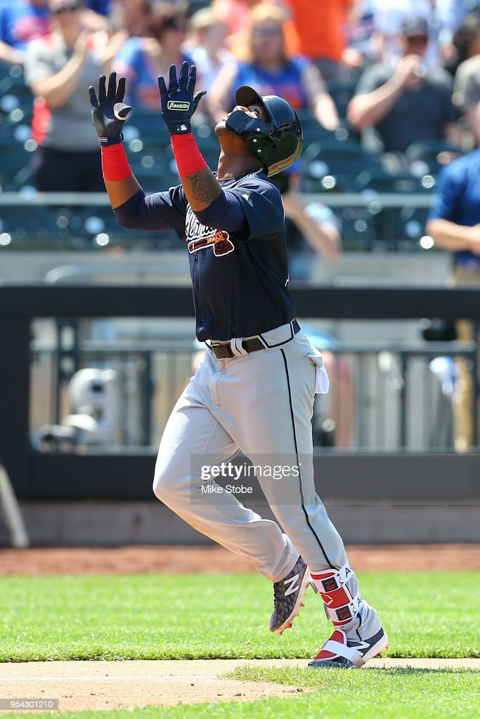 Ronald Acuna Jr. #13 of the Atlanta Braves celebrates after hitting a solo home run in the fifth inning against the New York Mets at Citi Field on May 3, 2018 in the Flushing neighborhood of the Queens borough of New York City.