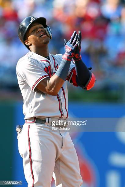 Ronald Acuna Jr #13 of the Atlanta Braves during a game against the Philadelphia Phillies at Citizens Bank Park on September 30 2018 in Philadelphia...