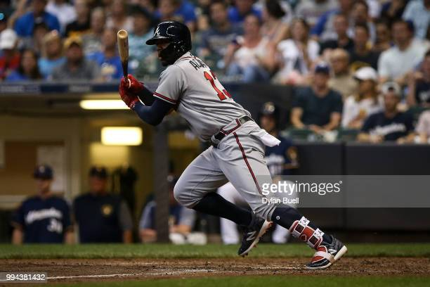 Ronald Acuna Jr #13 of the Atlanta Braves grounds out in the fifth inning against the Milwaukee Brewers at Miller Park on July 5 2018 in Milwaukee...