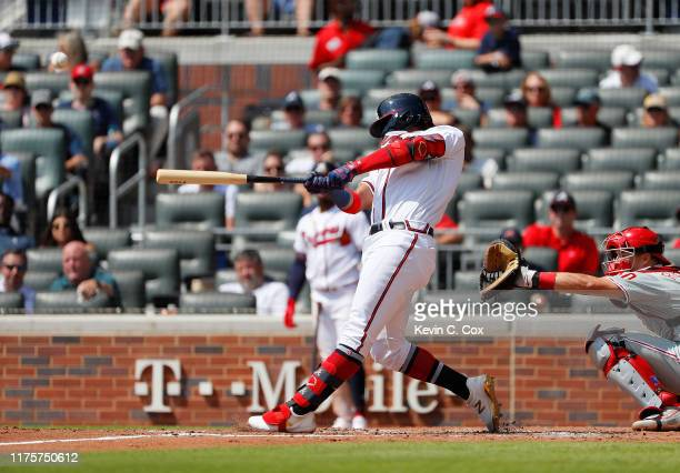 Ronald Acuna Jr #13 of the Atlanta Braves hits his 40th homer in the third inning against the Philadelphia Phillies at SunTrust Park on September 19...