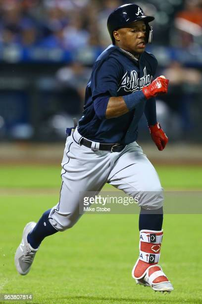 Ronald Acuna Jr #13 of the Atlanta Braves in action against the New York Mets at Citi Field on May 1 2018 in the Flushing neighborhood of the Queens...