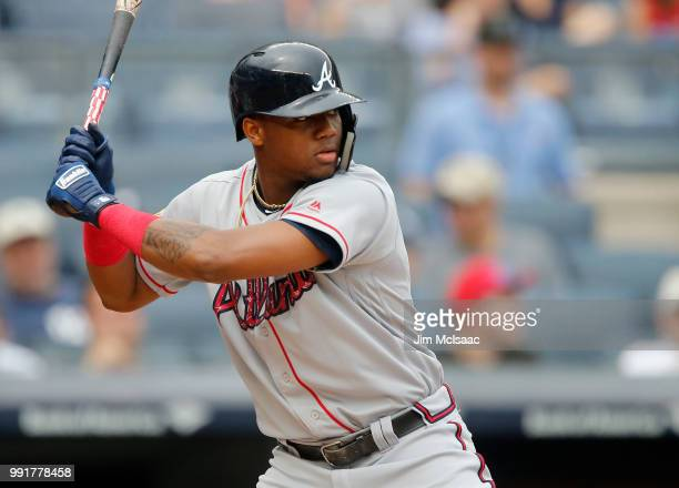 Ronald Acuna Jr #13 of the Atlanta Braves in action against the New York Yankees at Yankee Stadium on July 4 2018 in the Bronx borough of New York...