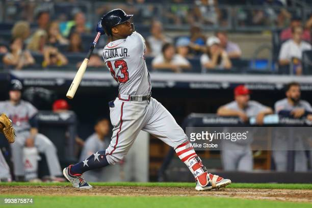 Ronald Acuna Jr #13 of the Atlanta Braves in action against the New York Yankees at Yankee Stadium on July 3 2018 in the Bronx borough of New York...