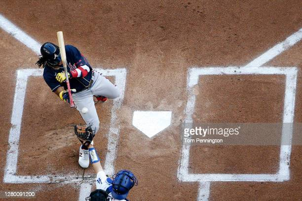 Ronald Acuna Jr. #13 of the Atlanta Braves is hit by the pitch against the Los Angeles Dodgers during the first inning in Game Two of the National...