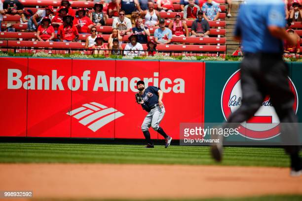 Ronald Acuna Jr #13 of the Atlanta Braves makes a catch against the St Louis Cardinals at Busch Stadium on July 1 2018 in St Louis Missouri