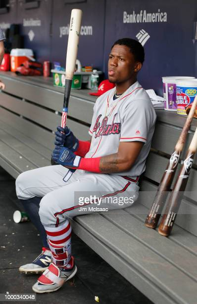 Ronald Acuna Jr #13 of the Atlanta Braves prepares for a game against the New York Yankees at Yankee Stadium on July 4 2018 in the Bronx borough of...