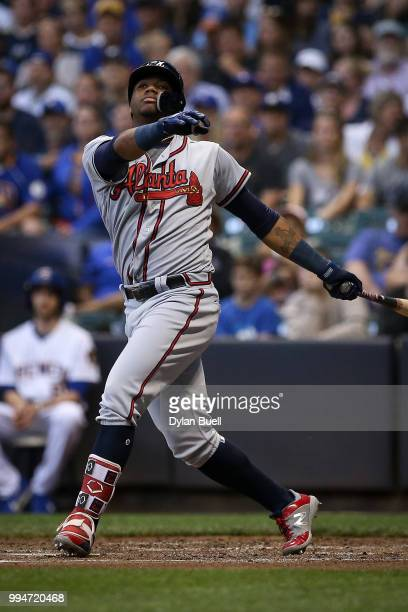 Ronald Acuna Jr #13 of the Atlanta Braves strikes out in the fifth inning against the Milwaukee Brewers at Miller Park on July 6 2018 in Milwaukee...