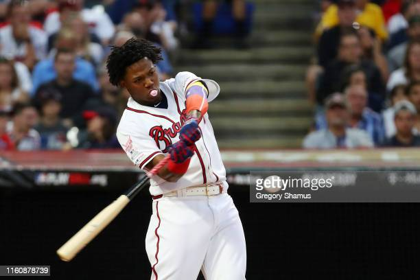 Ronald Acuna Jr. Of the Atlanta Braves competes in the T-Mobile Home Run Derby at Progressive Field on July 08, 2019 in Cleveland, Ohio.