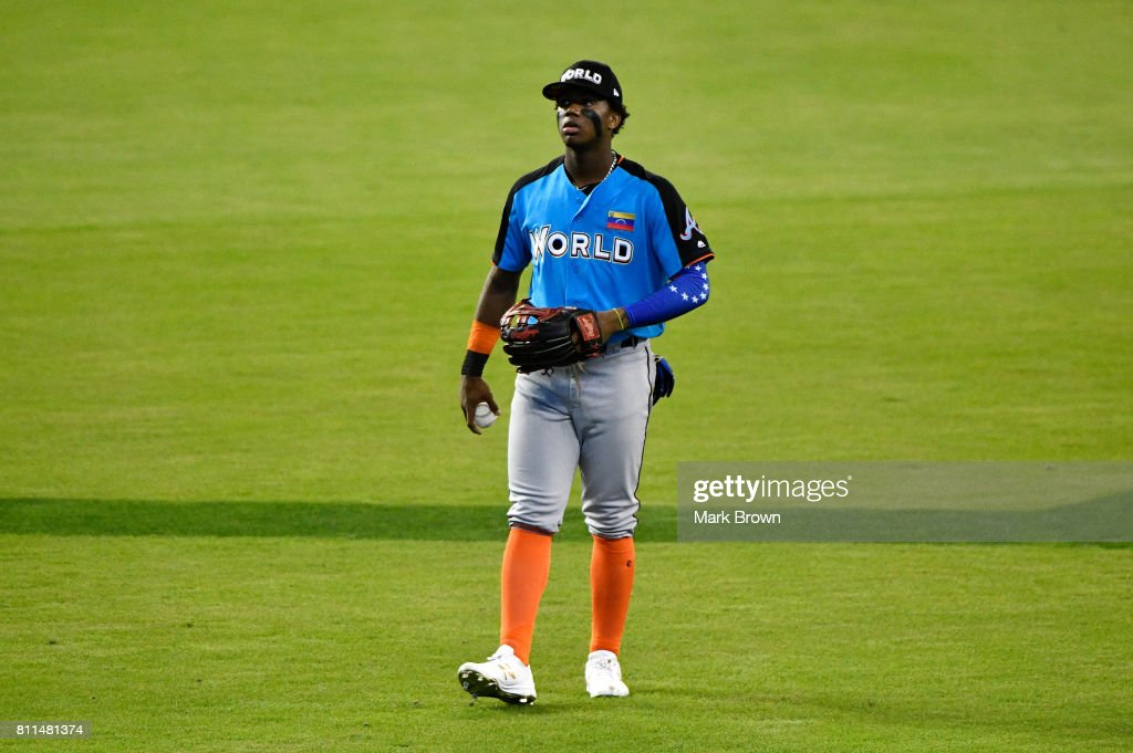 Ronald Acuna #24 of the Atlanta Braves and the World Team warms up prior to the SiriusXM All-Star Futures Game at Marlins Park on July 9, 2017 in Miami, Florida.