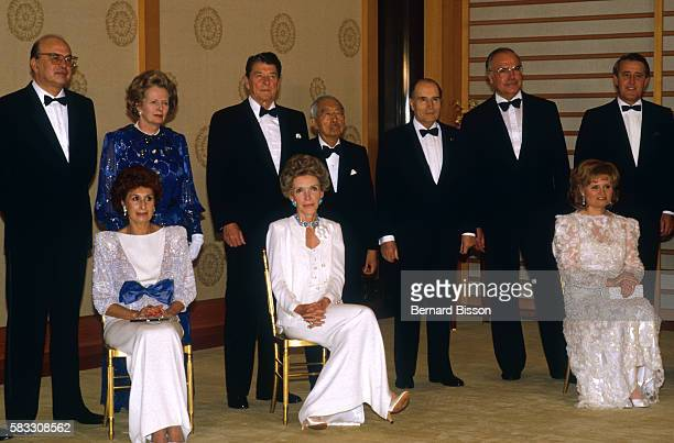 Ronald and Nancy Reagan Margaret Thatcher Emperor Hirohito Francois Mitterrand and Helmut Kohl at the Tokyo Summit of the seven most industrialized...