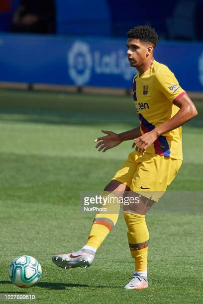 Ronald Araujo of Barcelona does passed during the Liga match between Deportivo Alaves and FC Barcelona at Estadio de Mendizorroza on July 19 2020 in...
