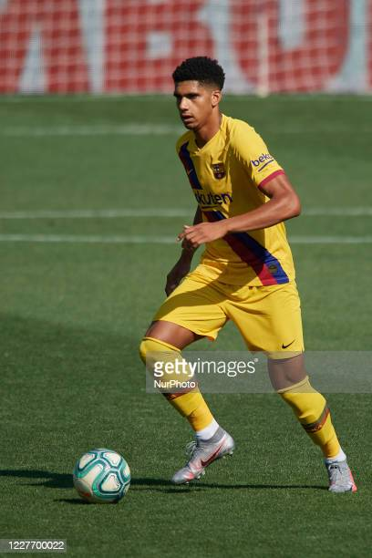 Ronald Araujo of Barcelona in action during the Liga match between Deportivo Alaves and FC Barcelona at Estadio de Mendizorroza on July 19 2020 in...