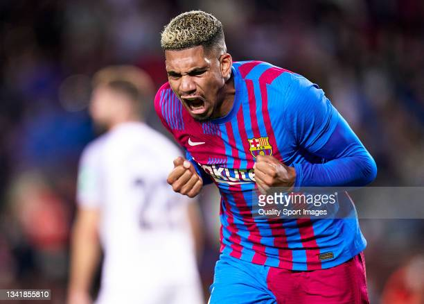 Ronald Araujo of FC Barcelona celebrates his team's first goal during the La Liga Santander match between FC Barcelona and Granada CF at Camp Nou on...