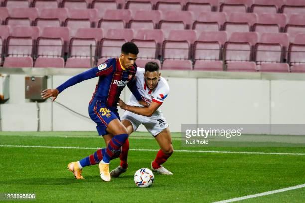 30 Ronald Araujo of FC Barcelona during La Liga match between FC Barcelona and Sevilla FC behind closed doors due to Coronavirus at Camp Nou Stadium...
