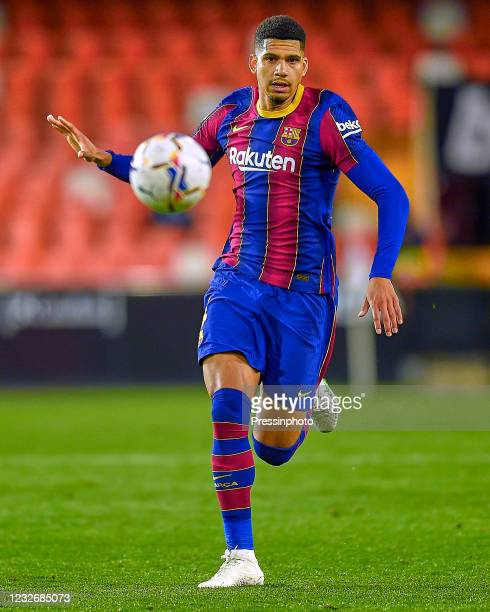 Ronald Araujo of FC Barcelona during the La Liga match between Valencia CF and FC Barcelona played at Mestalla Stadium on May 2, 2021 in Valencia,...