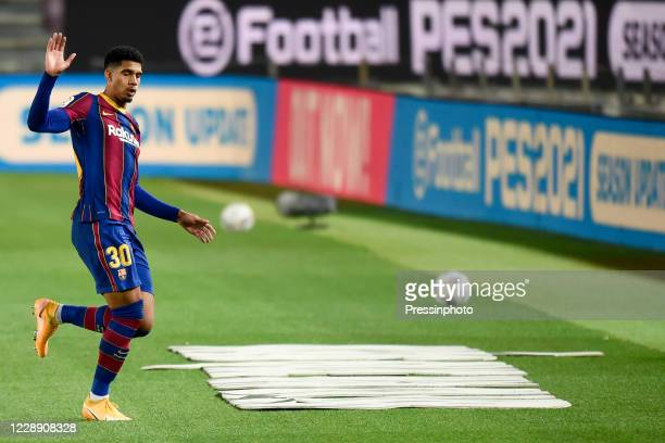 Ronald Araujo of FC Barcelona during the La Liga match between FC Barcelona and Sevilla FC played at Camp Nou Stadium on October 4 2020 in Barcelona...