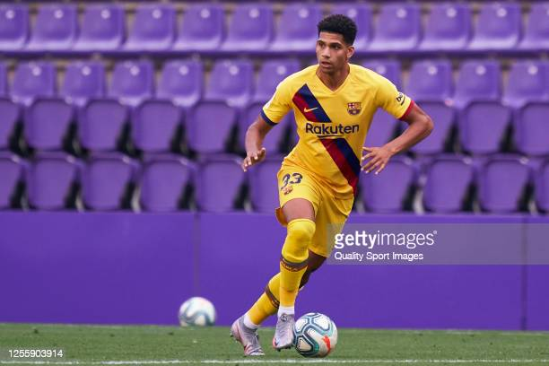 Ronald Araujo of FC Barcelona in action during the La Liga match between Real Valladolid CF and FC Barcelona at Jose Zorrilla on July 11 2020 in...