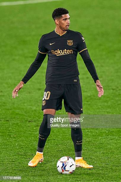 Ronald Araujo of FC Barcelona in action during the La Liga Santander match between RC Celta and FC Barcelona at AbancaBalaídos on October 01 2020 in...