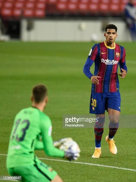 Ronald Araujo of FC Barcelona looks his teammate Norberto Murara Neto during the La Liga match between FC Barcelona and Sevilla FC played at Camp Nou...