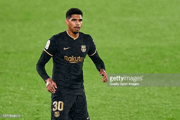 Ronald Araujo of FC Barcelona looks on during the La Liga Santander match between RC Celta and FC Barcelona at AbancaBalaídos on October 01 2020 in...