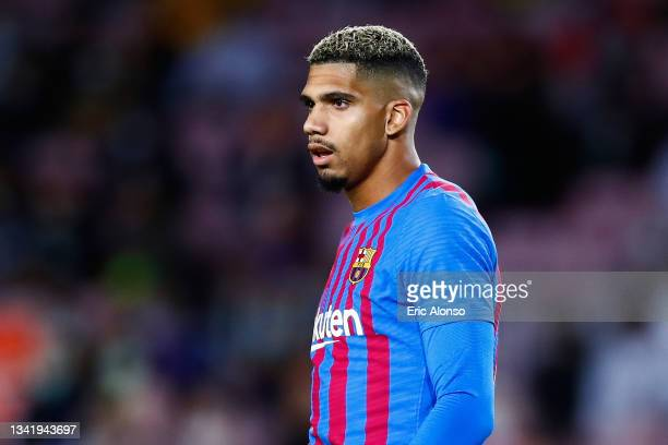 Ronald Araujo of FC Barcelona looks on during the La Liga Santander match between FC Barcelona and Granada CF at Camp Nou on September 20, 2021 in...