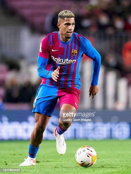 Ronald Araujo of FC Barcelona with the ball during the La Liga Santander match between FC Barcelona and Granada CF at Camp Nou on September 20, 2021...