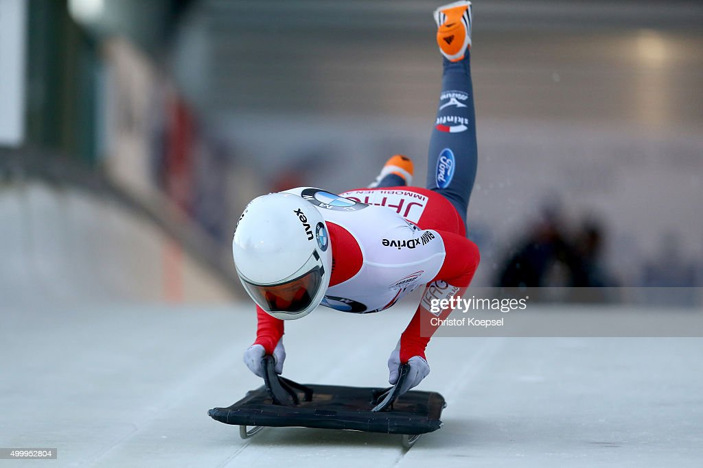 Ronald Auderset of Switzerland competes in his first run of the men's skeleton competition during the BMW IBSF Bob & Skeleton Worldcup at Veltins Eis-Arena on December 4, 2015 in Winterberg, Germany.