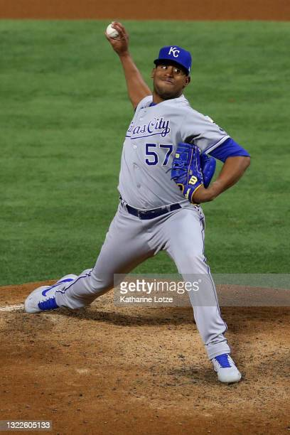 Ronald Bolanos of the Kansas City Royals throws a pitch in the fifth inning against the Los Angeles Angels at Angel Stadium of Anaheim on June 08,...