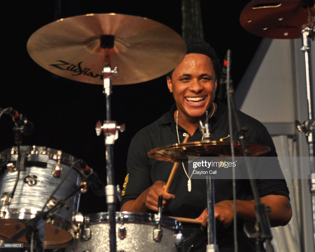 Ronald Bruner Jr performs with Stanley Clarke in the Jazz Tent on day five of New Orleans Jazz & Heritage Festival on April 30, 2010 in New Orleans, Louisiana.