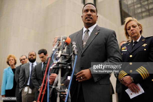 Ronald C Machen the United States Attorney for the District of Columbia speaks during a press conference as Cathy L Lanier Chief of Police of the...