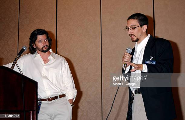 """Ronald D. Moore and moderator Greg Festo during 2003 Galacticon Celebrating the 25th Anniversary of """"Battlestar Galactica"""" - Day One at The Universal..."""