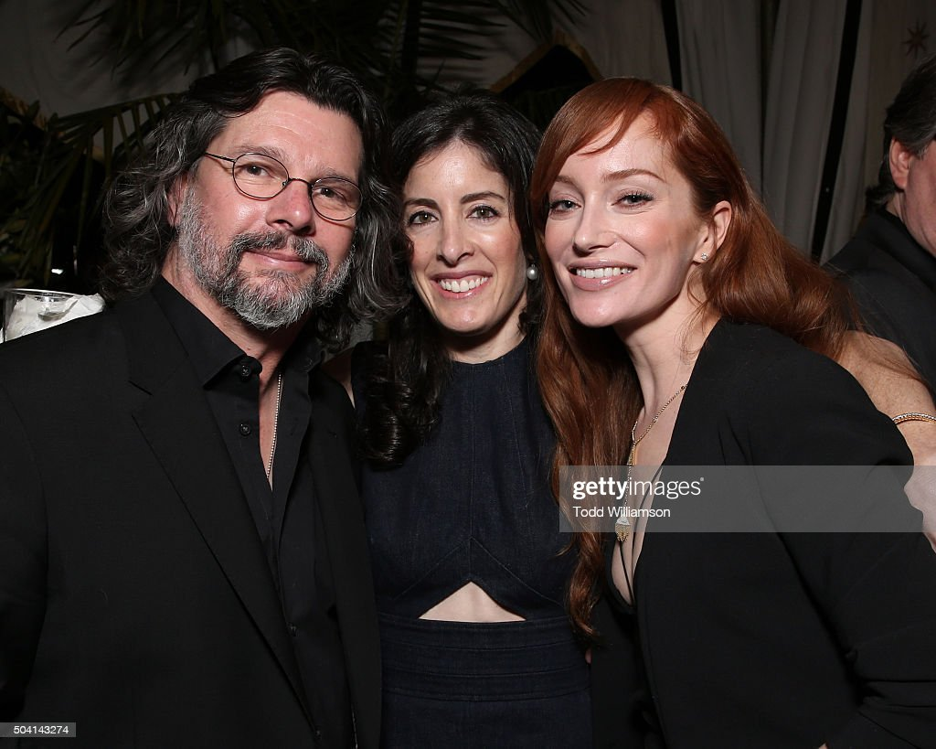 Ronald D. Moore, Maril Davis and Lotte Verbeek attend the Starz Pre-Golden Globe Celebration at Chateau Marmont on January 8, 2016 in Los Angeles, California.