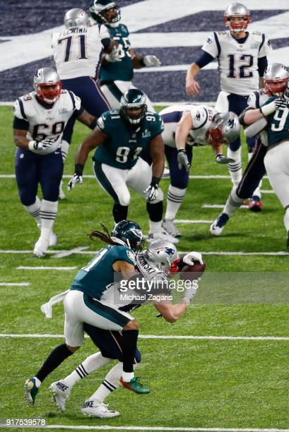 Ronald Darby of the Philadelphia Eagles breaks up a pass to Rob Gronkowski of the New England Patriots during Super Bowl LII at US Bank Stadium on...