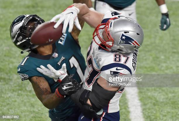 Ronald Darby of the Philadelphia Eagles breaks up the pass to Rob Gronkowski of the New England Patriots during Super Bowl LII at US Bank Stadium on...