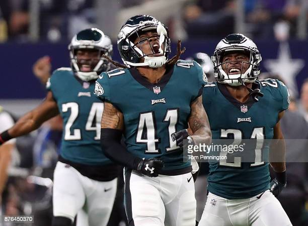 Ronald Darby of the Philadelphia Eagles celebrates his second quarter interception against the Dallas Cowboys with Corey Graham of the Philadelphia...